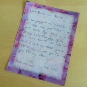 An adorable letter from Eliza to Bella and Rosie